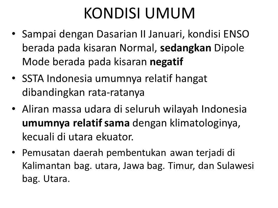 KONDISI UMUM Sampai dengan Dasarian II Januari, kondisi ENSO berada pada kisaran Normal, sedangkan Dipole Mode berada pada kisaran negatif SSTA Indone