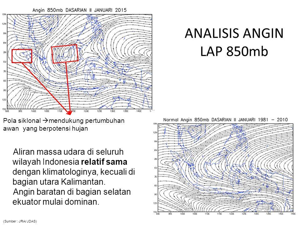 ANALISIS ANGIN LAP 850mb Aliran massa udara di seluruh wilayah Indonesia relatif sama dengan klimatologinya, kecuali di bagian utara Kalimantan. Angin