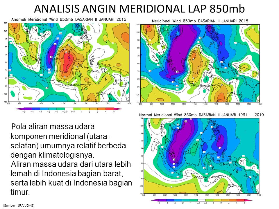 ANALISIS ANGIN MERIDIONAL LAP 850mb P ola aliran massa udara komponen meridional (utara- selatan) umumnya relatif berbeda dengan klimatologisnya. Alir