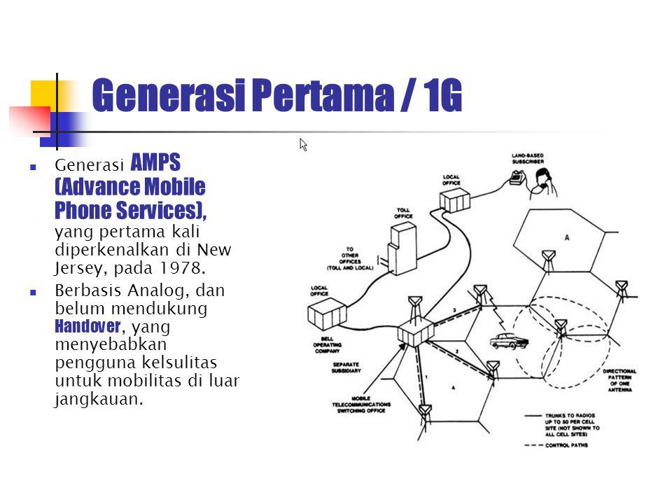 Generasi Pertama / 1G Generasi AMPS (Advance Mobile Phone Services), yang pertama kali diperkenalkan di New Jersey, pada 1978.