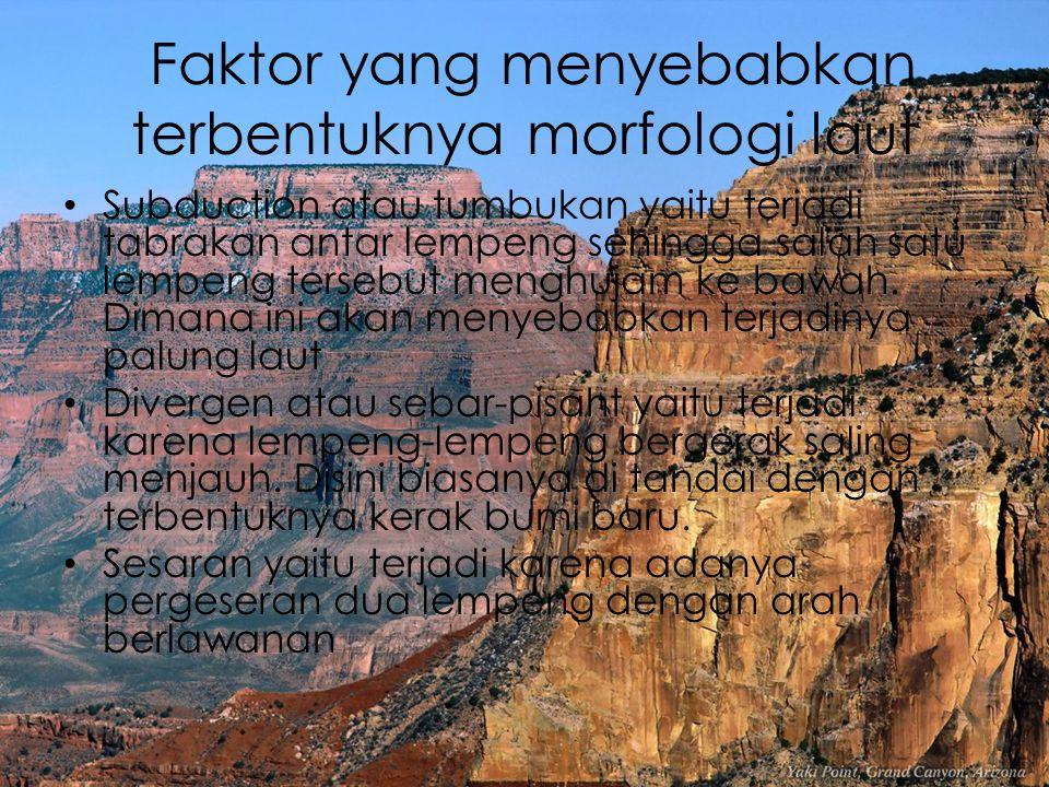 Faktor yang menyebabkan terbentuknya morfologi laut Subduction atau tumbukan yaitu terjadi tabrakan antar lempeng sehingga salah satu lempeng tersebut
