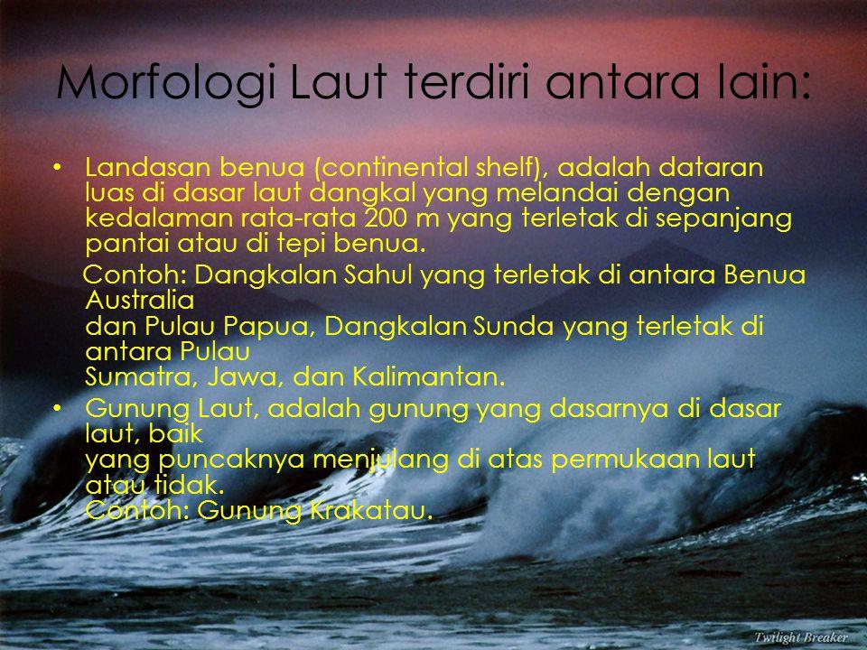 Morfologi Laut terdiri antara lain: Landasan benua (continental shelf), adalah dataran luas di dasar laut dangkal yang melandai dengan kedalaman rata-