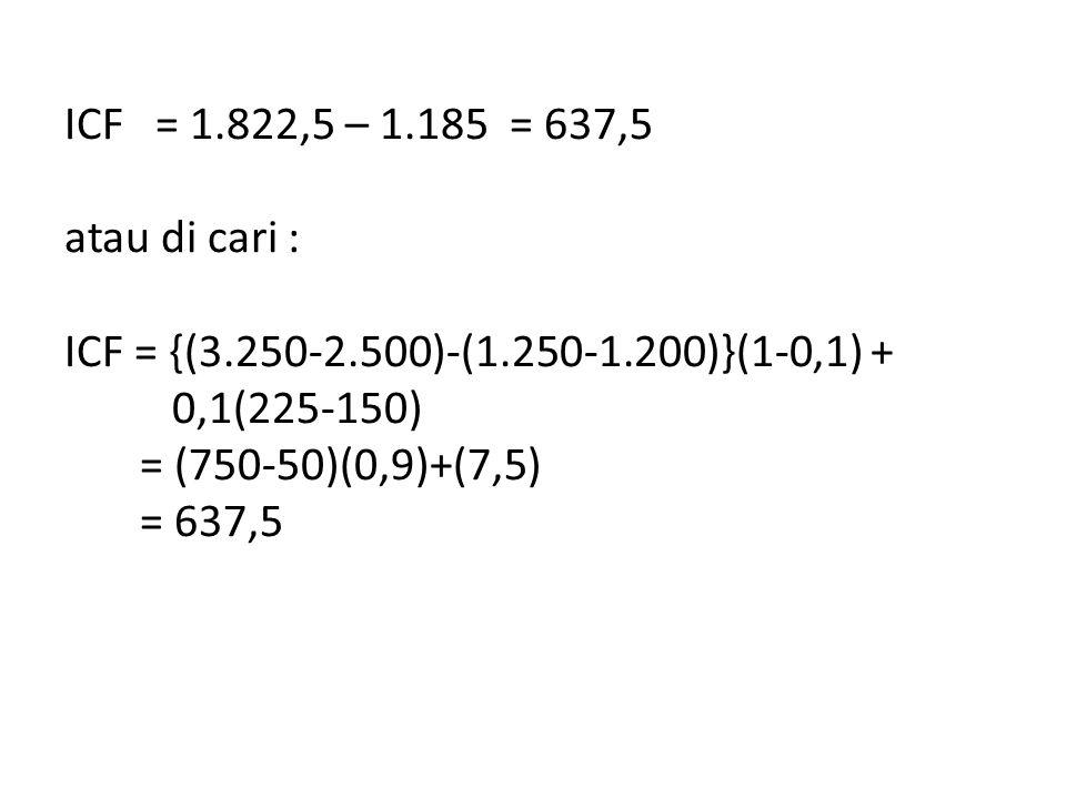 ICF = 1.822,5 – 1.185 = 637,5 atau di cari : ICF = {(3.250-2.500)-(1.250-1.200)}(1-0,1) + 0,1(225-150) = (750-50)(0,9)+(7,5) = 637,5