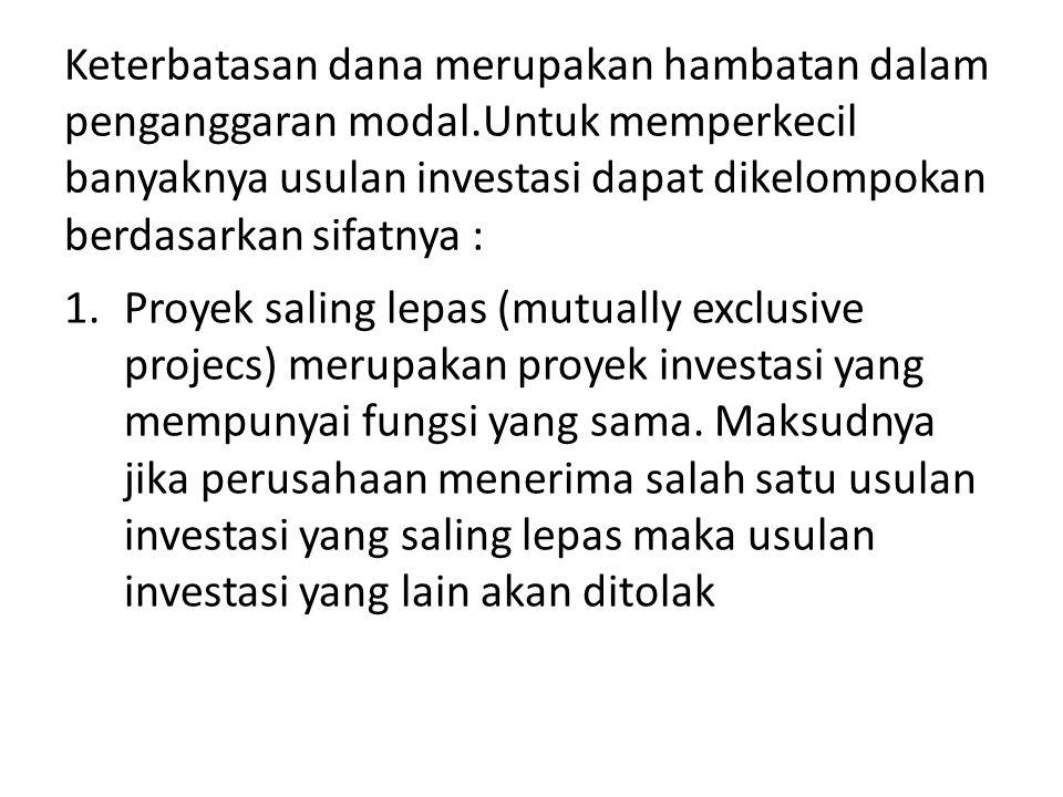 Contoh : Perhitungan arus kas investasi pengantian aset : UraianM.