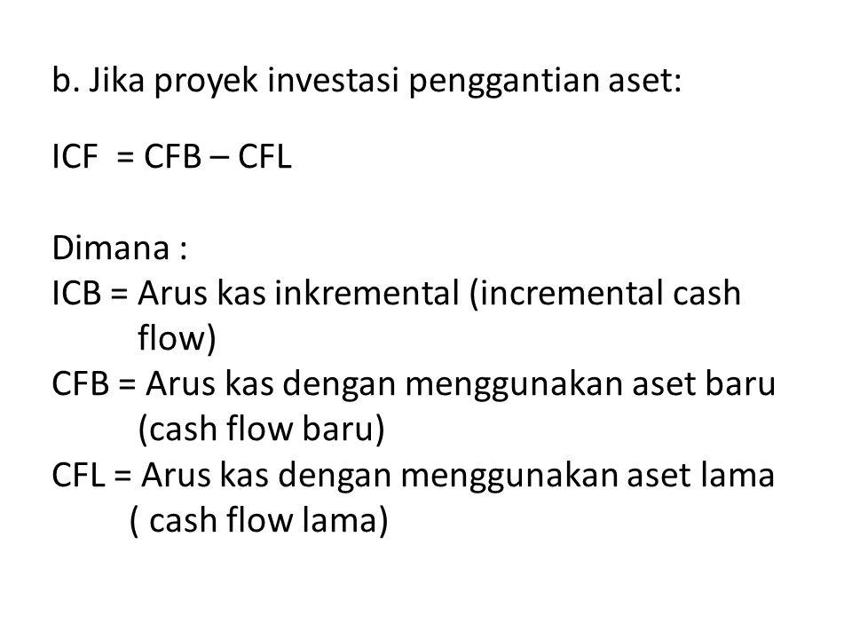 b. Jika proyek investasi penggantian aset: ICF = CFB – CFL Dimana : ICB = Arus kas inkremental (incremental cash flow) CFB = Arus kas dengan menggunak