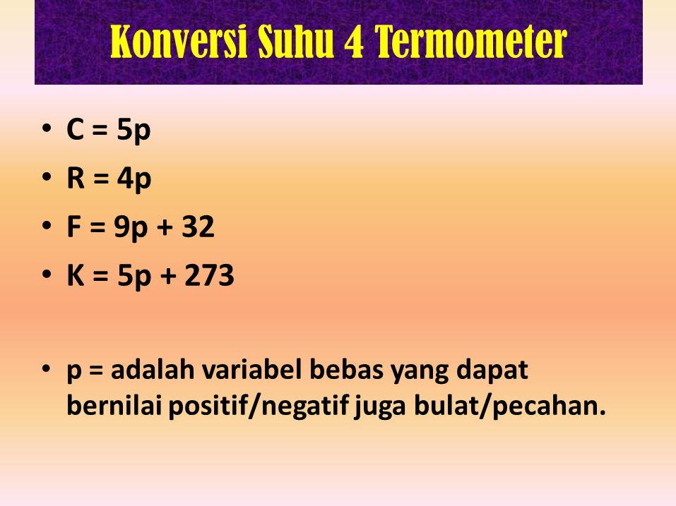 Konversi Suhu 4 Termometer C = 5p R = 4p F = 9p + 32 K = 5p + 273 p = adalah variabel bebas yang dapat bernilai positif/negatif juga bulat/pecahan.