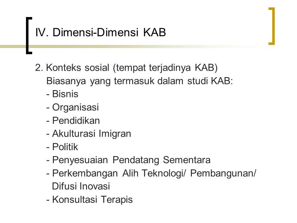 IV. Dimensi-Dimensi KAB 2. Konteks sosial (tempat terjadinya KAB) Biasanya yang termasuk dalam studi KAB: - Bisnis - Organisasi - Pendidikan - Akultur