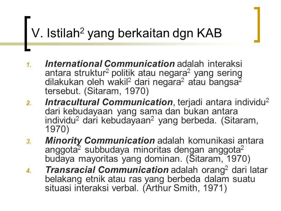 V. Istilah 2 yang berkaitan dgn KAB 1. International Communication adalah interaksi antara struktur 2 politik atau negara 2 yang sering dilakukan oleh