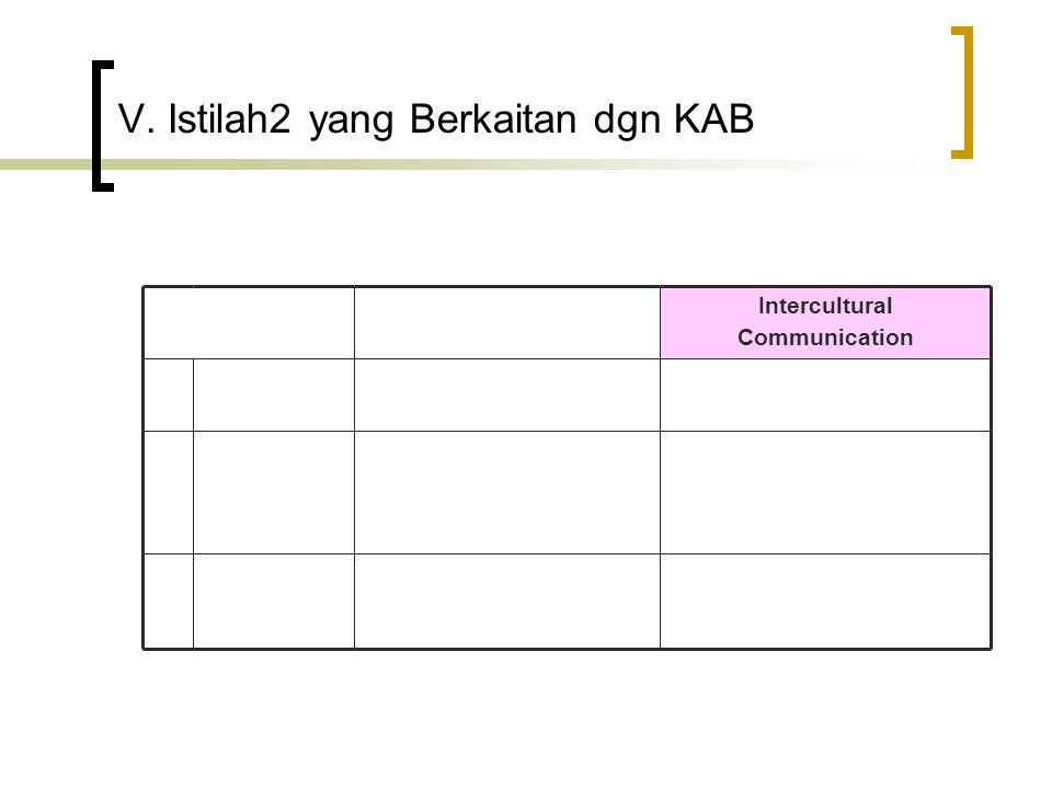 V. Istilah2 yang Berkaitan dgn KAB Intercultural Communication