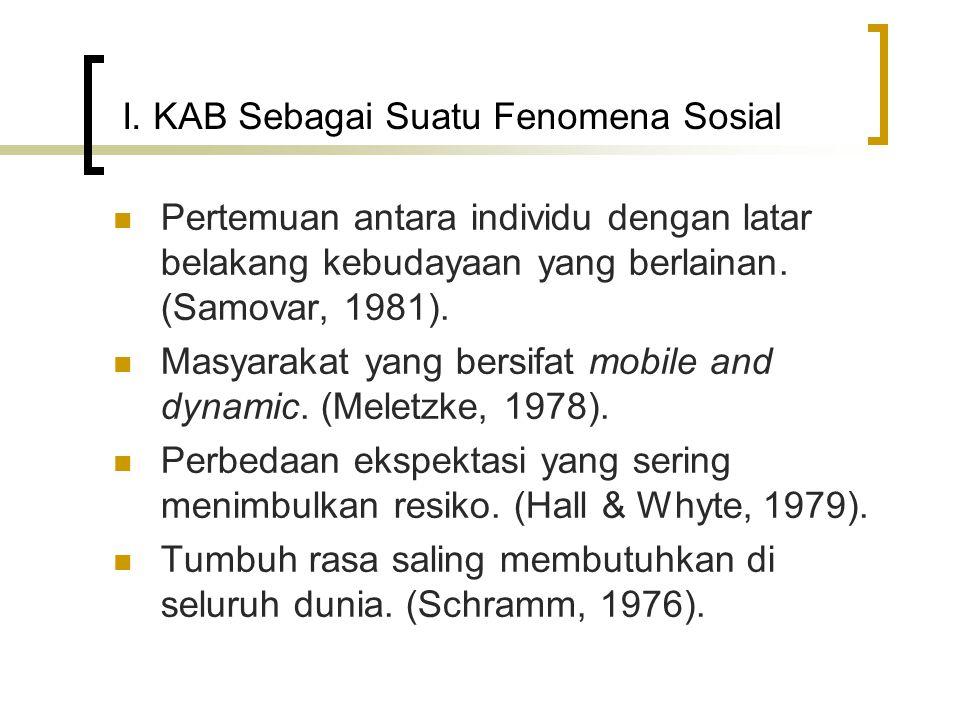 I. KAB Sebagai Suatu Fenomena Sosial Pertemuan antara individu dengan latar belakang kebudayaan yang berlainan. (Samovar, 1981). Masyarakat yang bersi