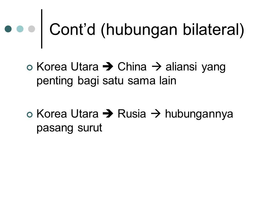 Cont'd (hubungan bilateral) Korea Utara  China  aliansi yang penting bagi satu sama lain Korea Utara  Rusia  hubungannya pasang surut