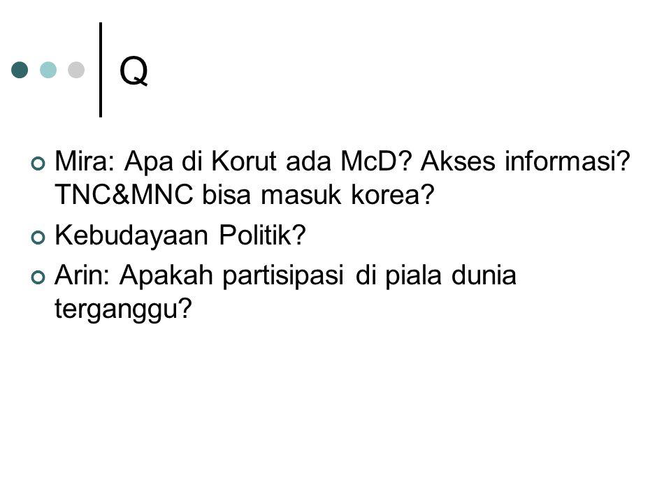 Q Mira: Apa di Korut ada McD. Akses informasi. TNC&MNC bisa masuk korea.