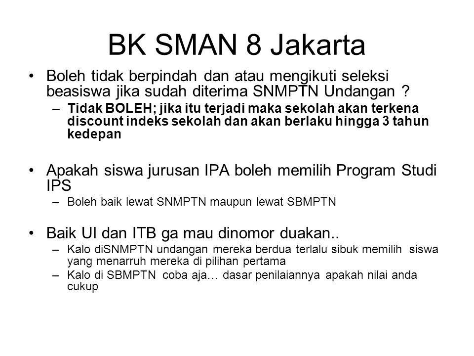 BK SMAN 8 Jakarta Boleh tidak berpindah dan atau mengikuti seleksi beasiswa jika sudah diterima SNMPTN Undangan ? –Tidak BOLEH; jika itu terjadi maka