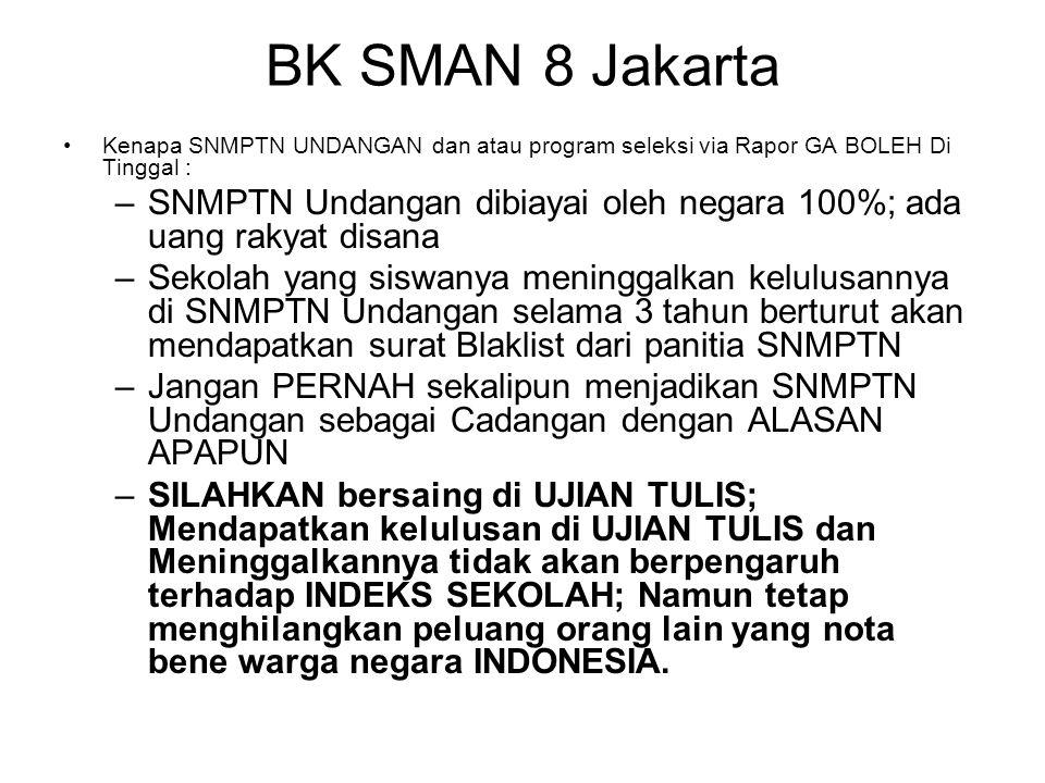 BK SMAN 8 Jakarta Kenapa SNMPTN UNDANGAN dan atau program seleksi via Rapor GA BOLEH Di Tinggal : –SNMPTN Undangan dibiayai oleh negara 100%; ada uang