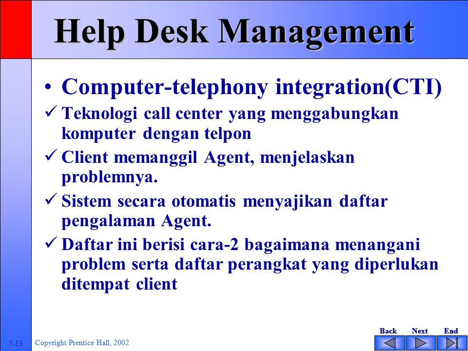 BackNextEndBackNextEnd 7-13 Copyright Prentice Hall, 2002 BackNextEndBackNextEnd 7-13 Copyright Prentice Hall, 2002 Help Desk Management Computer-tele