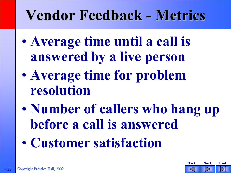 BackNextEndBackNextEnd 7-22 Copyright Prentice Hall, 2002 BackNextEndBackNextEnd 7-22 Copyright Prentice Hall, 2002 Vendor Feedback - Metrics Average time until a call is answered by a live person Average time for problem resolution Number of callers who hang up before a call is answered Customer satisfaction