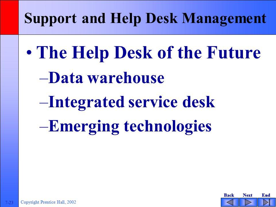 BackNextEndBackNextEnd 7-23 Copyright Prentice Hall, 2002 BackNextEndBackNextEnd 7-23 Copyright Prentice Hall, 2002 Support and Help Desk Management T