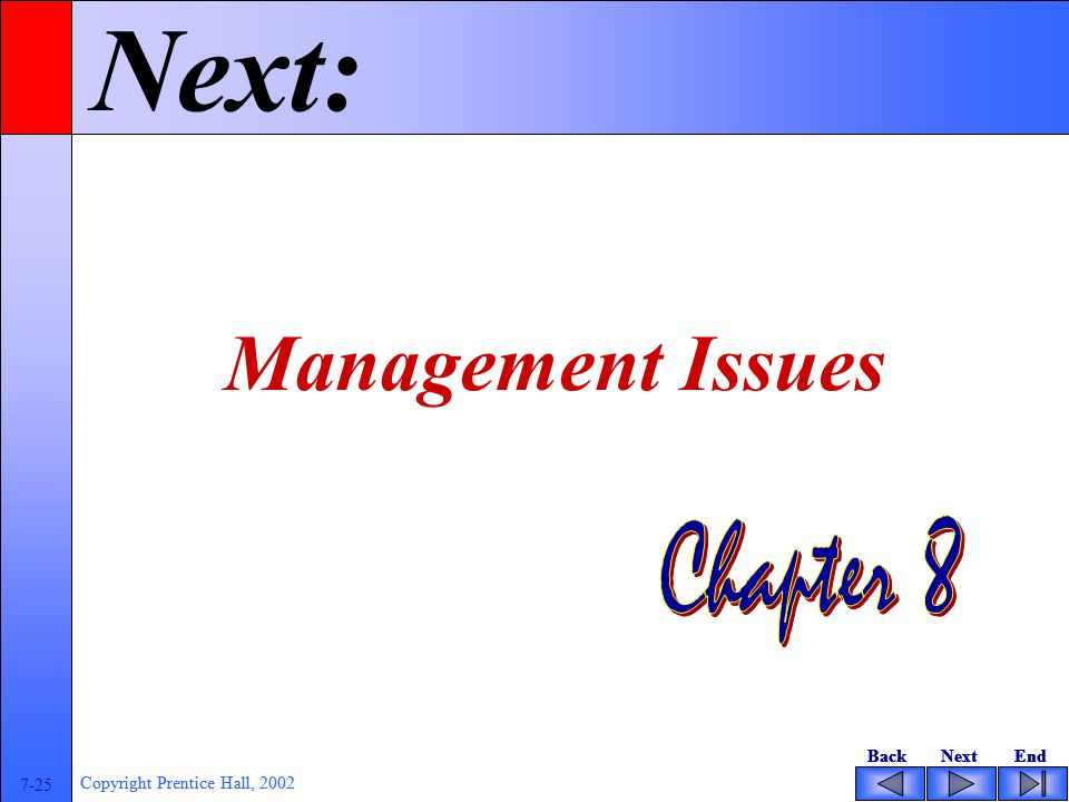 BackNextEndBackNextEnd 7-25 Copyright Prentice Hall, 2002 BackNextEndBackNextEnd 7-25 Copyright Prentice Hall, 2002 Next: Management Issues