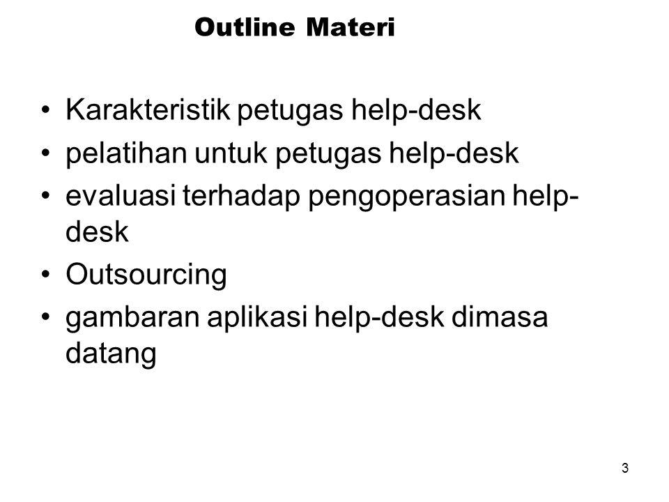 3 Outline Materi Karakteristik petugas help-desk pelatihan untuk petugas help-desk evaluasi terhadap pengoperasian help- desk Outsourcing gambaran aplikasi help-desk dimasa datang