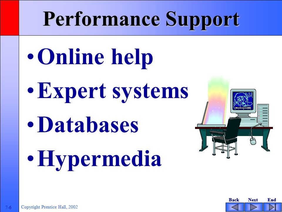 BackNextEndBackNextEnd 7-6 Copyright Prentice Hall, 2002 BackNextEndBackNextEnd 7-6 Copyright Prentice Hall, 2002 Performance Support Online help Expert systems Databases Hypermedia