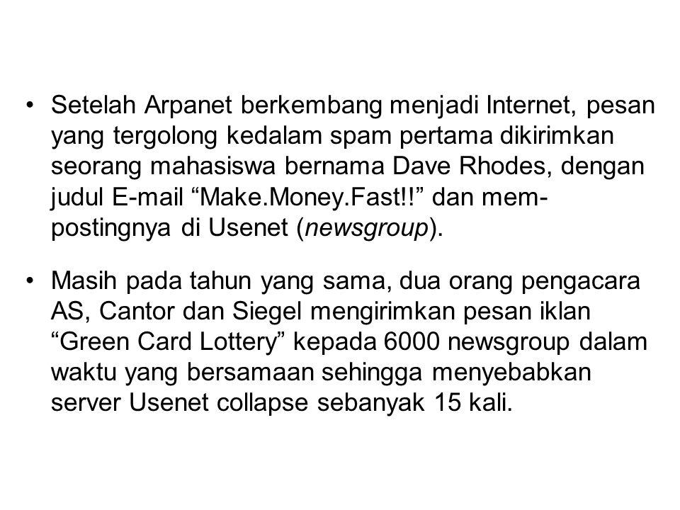 Setelah Arpanet berkembang menjadi Internet, pesan yang tergolong kedalam spam pertama dikirimkan seorang mahasiswa bernama Dave Rhodes, dengan judul