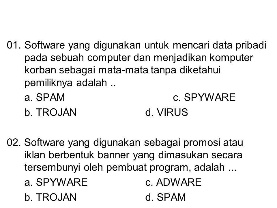 01.Software yang digunakan untuk mencari data pribadi pada sebuah computer dan menjadikan komputer korban sebagai mata-mata tanpa diketahui pemiliknya