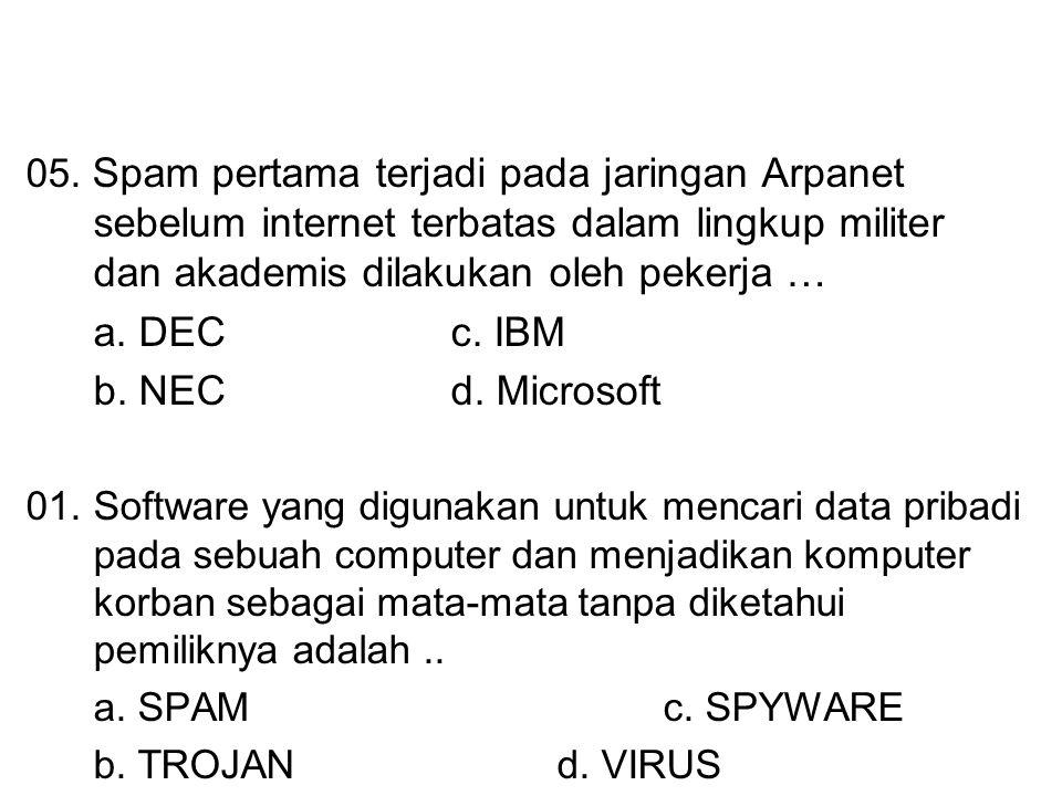 05. Spam pertama terjadi pada jaringan Arpanet sebelum internet terbatas dalam lingkup militer dan akademis dilakukan oleh pekerja … a. DECc. IBM b. N
