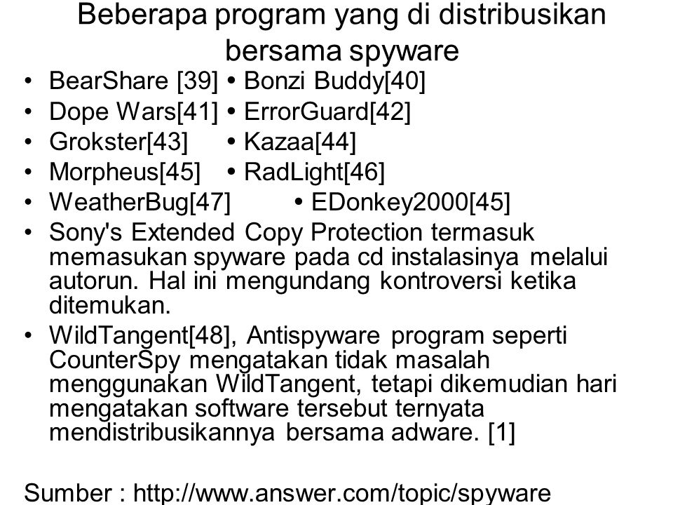 Beberapa program yang di distribusikan bersama spyware BearShare [39]  Bonzi Buddy[40] Dope Wars[41]  ErrorGuard[42] Grokster[43]  Kazaa[44] Morphe
