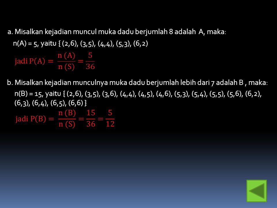 4. Pada pengetosan dua buah dadu homogen bersisi 6, hitunglah: a.Peluang munculnya muka dadu berjumlah 8 b.Peluang munculnya mata dadu berjumlah lebih