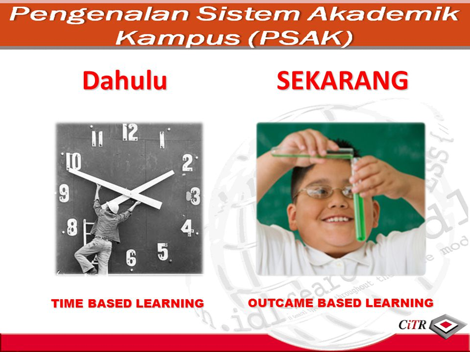 Dahulu TIME BASED LEARNING OUTCAME BASED LEARNING SEKARANG