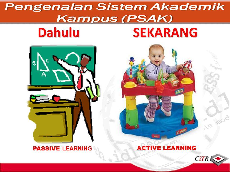 Dahulu PASSIVE LEARNING ACTIVE LEARNING SEKARANG