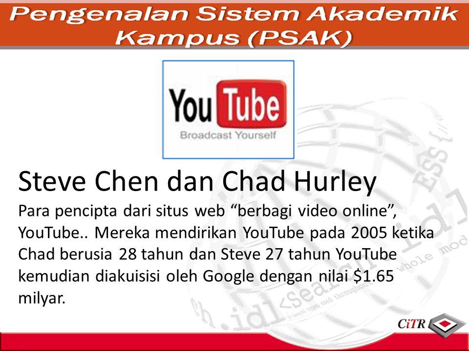 """Steve Chen dan Chad Hurley Para pencipta dari situs web """"berbagi video online"""", YouTube.. Mereka mendirikan YouTube pada 2005 ketika Chad berusia 28 t"""