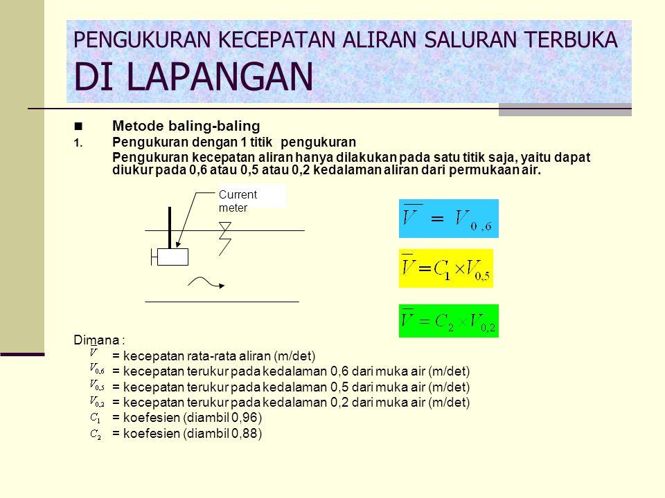 Metode baling-baling 1. Pengukuran dengan 1 titik pengukuran Pengukuran kecepatan aliran hanya dilakukan pada satu titik saja, yaitu dapat diukur pada