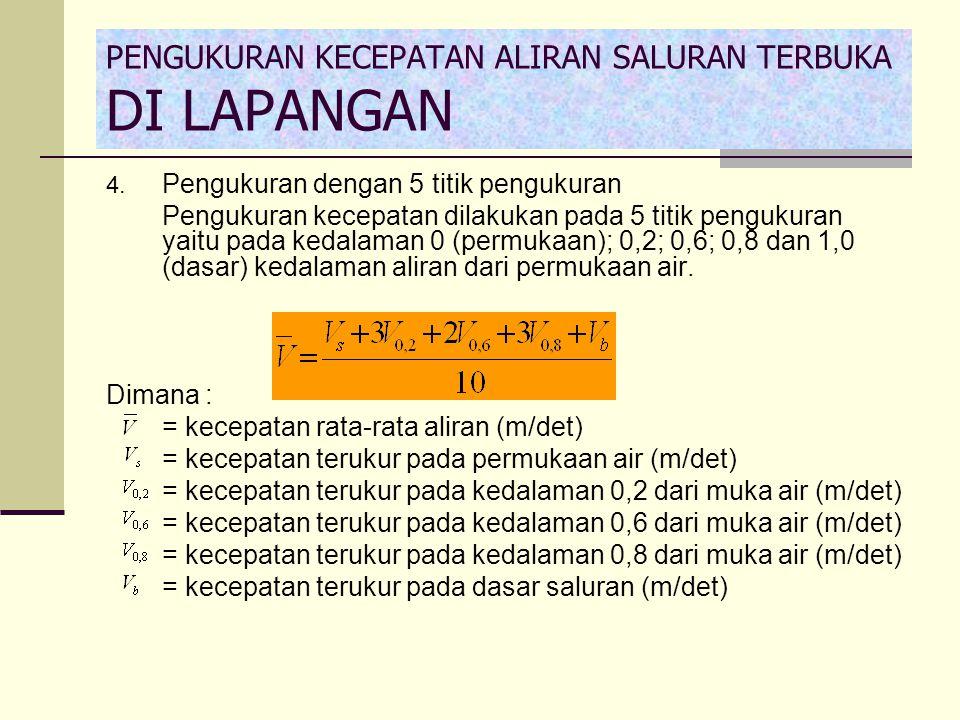 4. Pengukuran dengan 5 titik pengukuran Pengukuran kecepatan dilakukan pada 5 titik pengukuran yaitu pada kedalaman 0 (permukaan); 0,2; 0,6; 0,8 dan 1