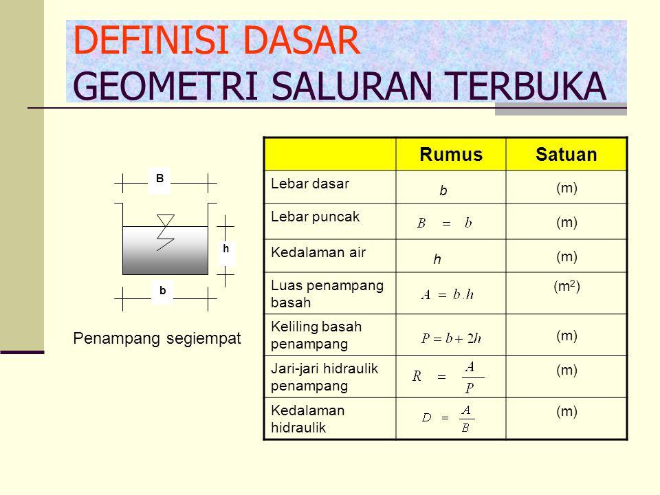 b h B RumusSatuan Lebar dasar b (m) Lebar puncak (m) Kedalaman air h (m) Luas penampang basah (m 2 ) Keliling basah penampang (m) Jari-jari hidraulik