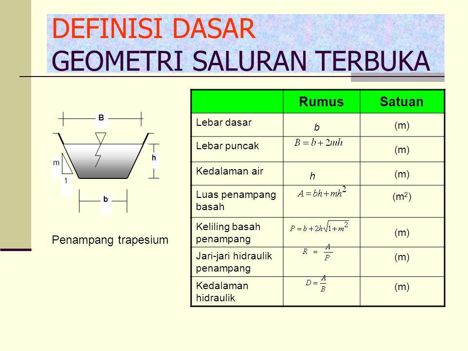 Metode Pewarnaan/Penggaraman Dimana : = kecepatan rata-rata aliran (m/det) = jarak antara A dan B (m) t= waktu yang dibutuhkan dari saat larutan dituangkan sampai terdeteksi oleh detector.