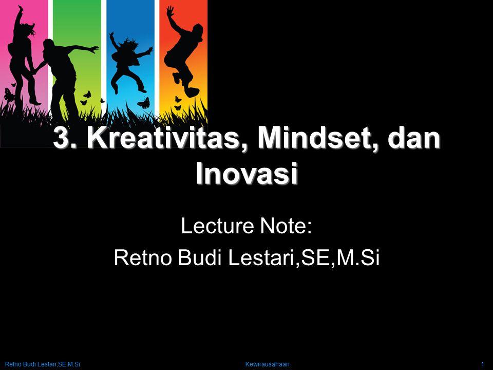 Retno Budi Lestari,SE,M.Si Kewirausahaan1 3. Kreativitas, Mindset, dan Inovasi Lecture Note: Retno Budi Lestari,SE,M.Si