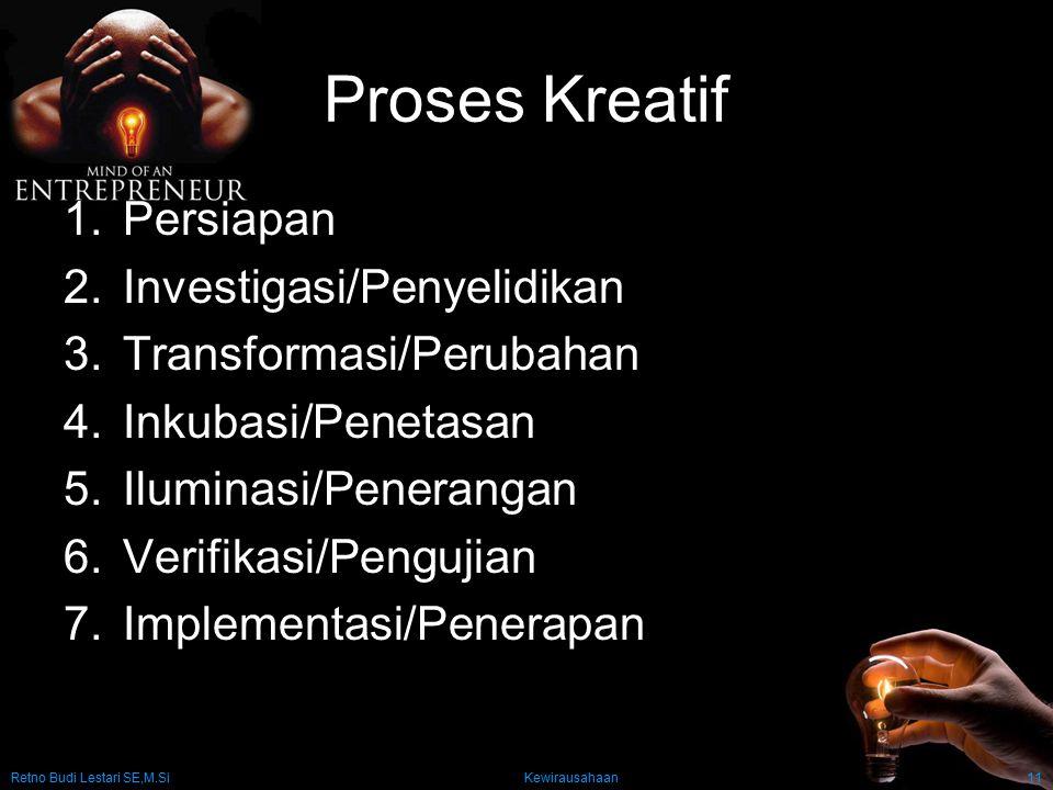 Retno Budi Lestari SE,M.Si Kewirausahaan11 Proses Kreatif 1.Persiapan 2.Investigasi/Penyelidikan 3.Transformasi/Perubahan 4.Inkubasi/Penetasan 5.Ilumi