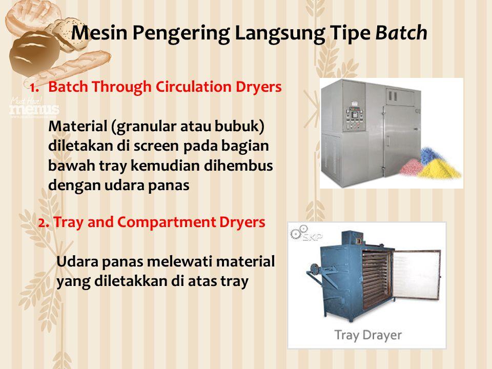 1.Batch Through Circulation Dryers Material (granular atau bubuk) diletakan di screen pada bagian bawah tray kemudian dihembus dengan udara panas Mesin Pengering Langsung Tipe Batch 2.