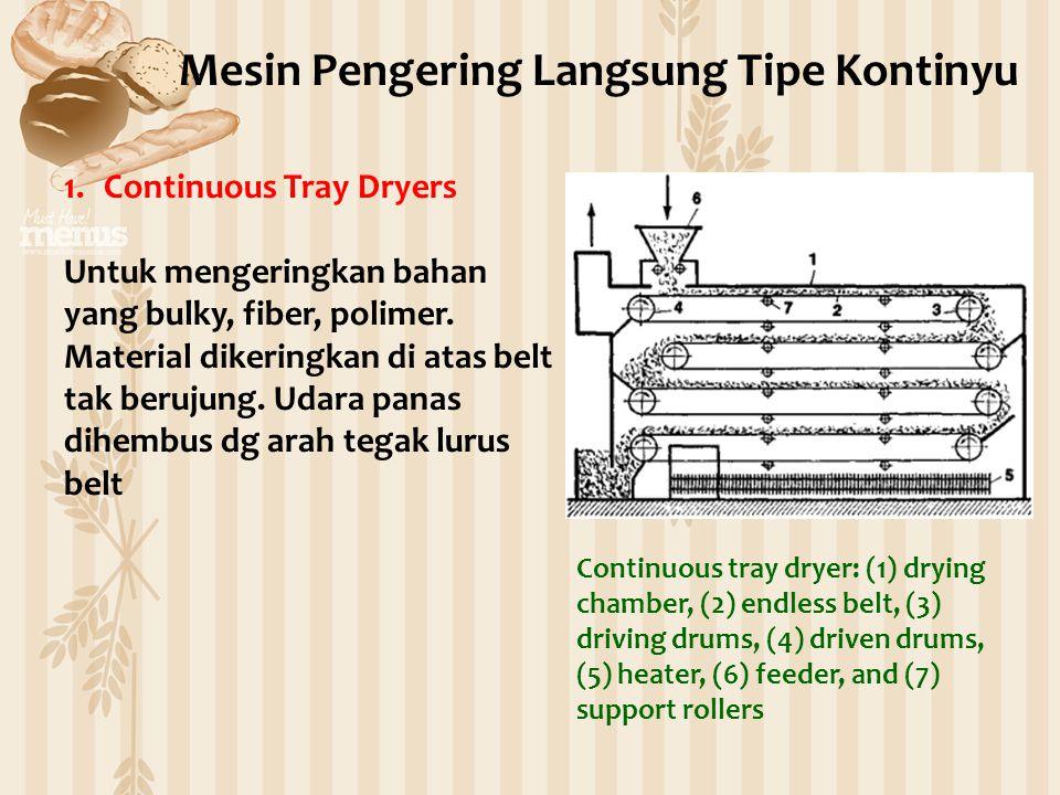 1.Continuous Tray Dryers Untuk mengeringkan bahan yang bulky, fiber, polimer. Material dikeringkan di atas belt tak berujung. Udara panas dihembus dg