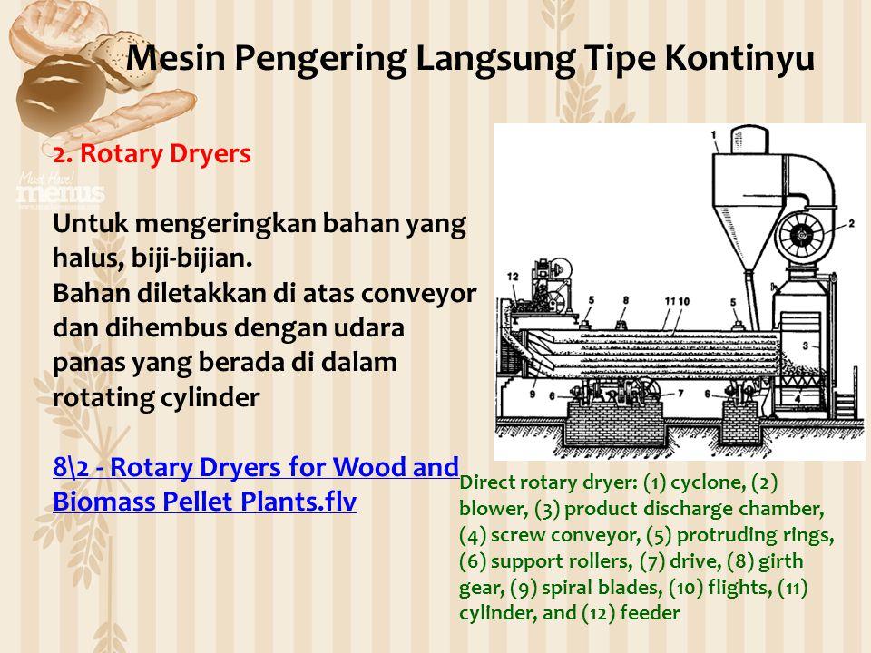 2. Rotary Dryers Untuk mengeringkan bahan yang halus, biji-bijian. Bahan diletakkan di atas conveyor dan dihembus dengan udara panas yang berada di da