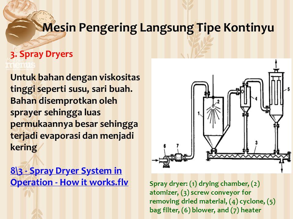 3. Spray Dryers Untuk bahan dengan viskositas tinggi seperti susu, sari buah. Bahan disemprotkan oleh sprayer sehingga luas permukaannya besar sehingg
