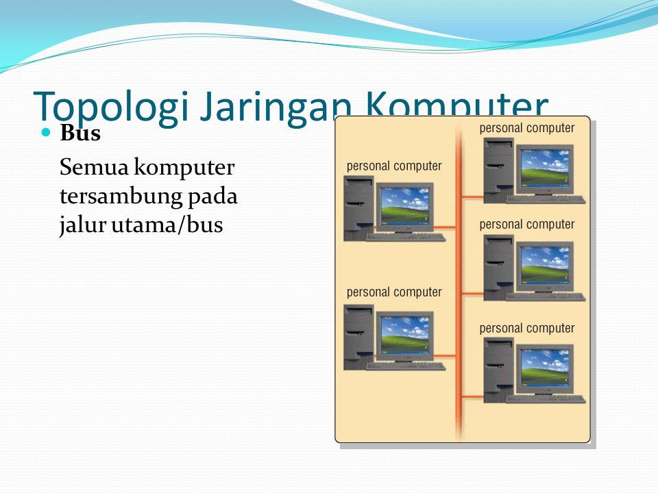 Topologi Jaringan Komputer Bus Semua komputer tersambung pada jalur utama/bus