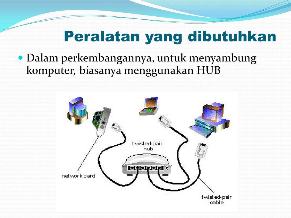 Peralatan yang dibutuhkan Dalam perkembangannya, untuk menyambung komputer, biasanya menggunakan HUB
