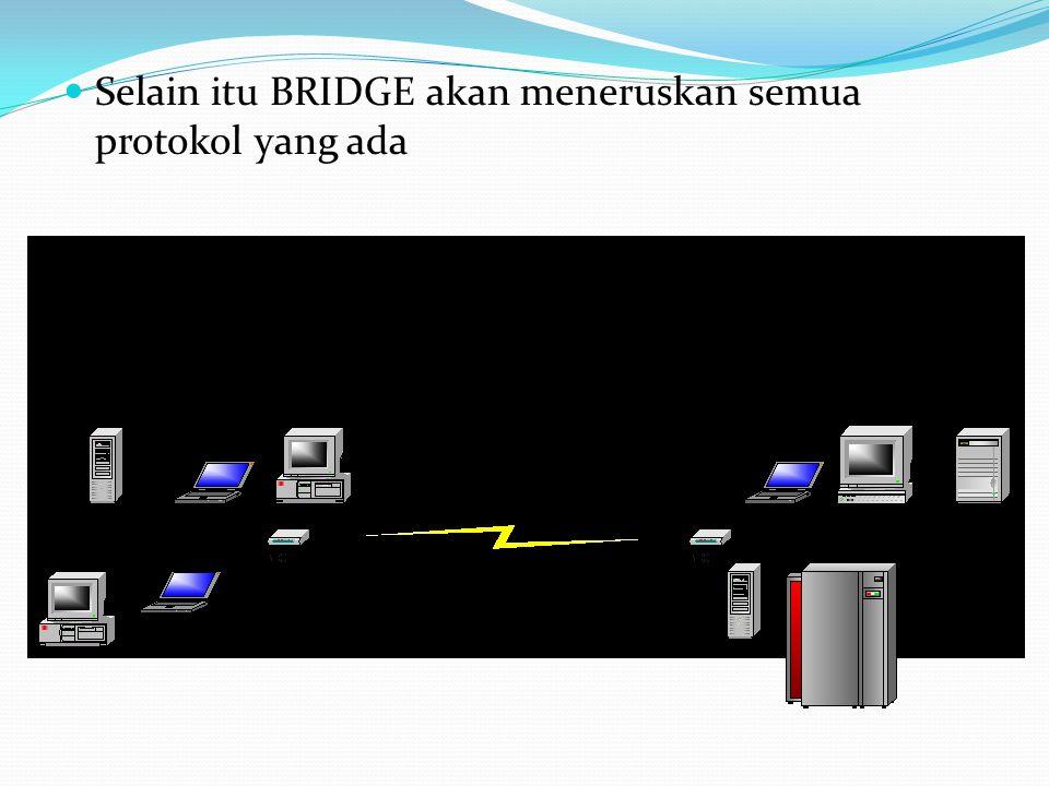 Selain itu BRIDGE akan meneruskan semua protokol yang ada TCP/IP NetBEUI IPX/SPX AppleTalk