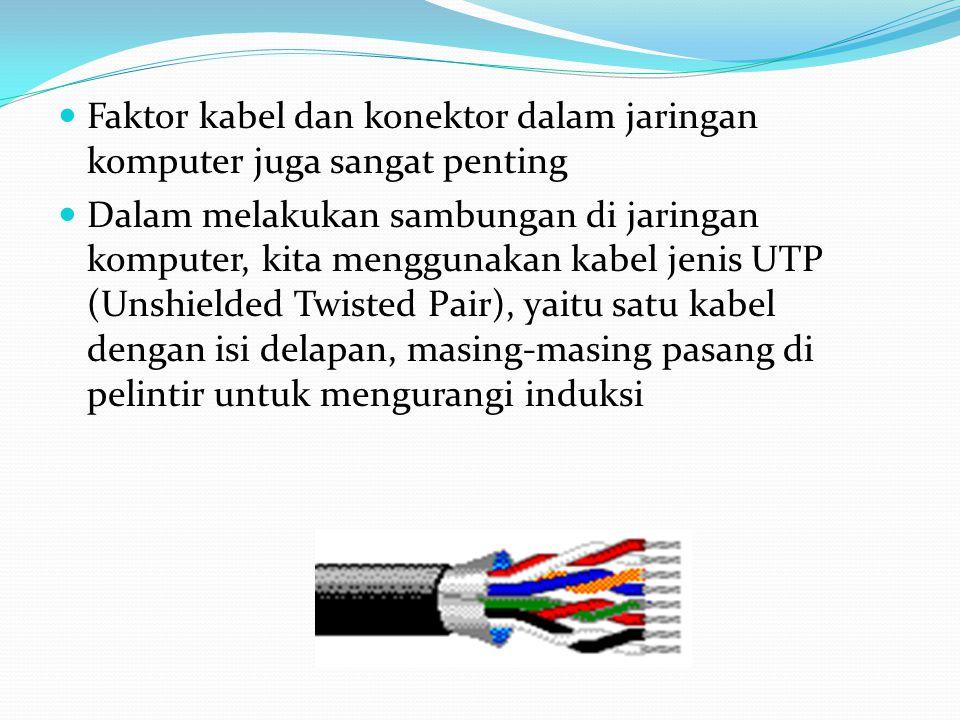 Faktor kabel dan konektor dalam jaringan komputer juga sangat penting Dalam melakukan sambungan di jaringan komputer, kita menggunakan kabel jenis UTP