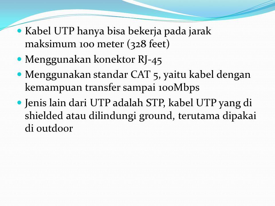 Kabel UTP hanya bisa bekerja pada jarak maksimum 100 meter (328 feet) Menggunakan konektor RJ-45 Menggunakan standar CAT 5, yaitu kabel dengan kemampu