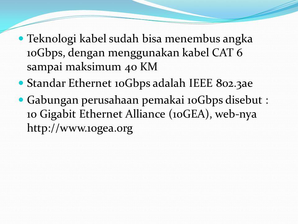 Teknologi kabel sudah bisa menembus angka 10Gbps, dengan menggunakan kabel CAT 6 sampai maksimum 40 KM Standar Ethernet 10Gbps adalah IEEE 802.3ae Gab