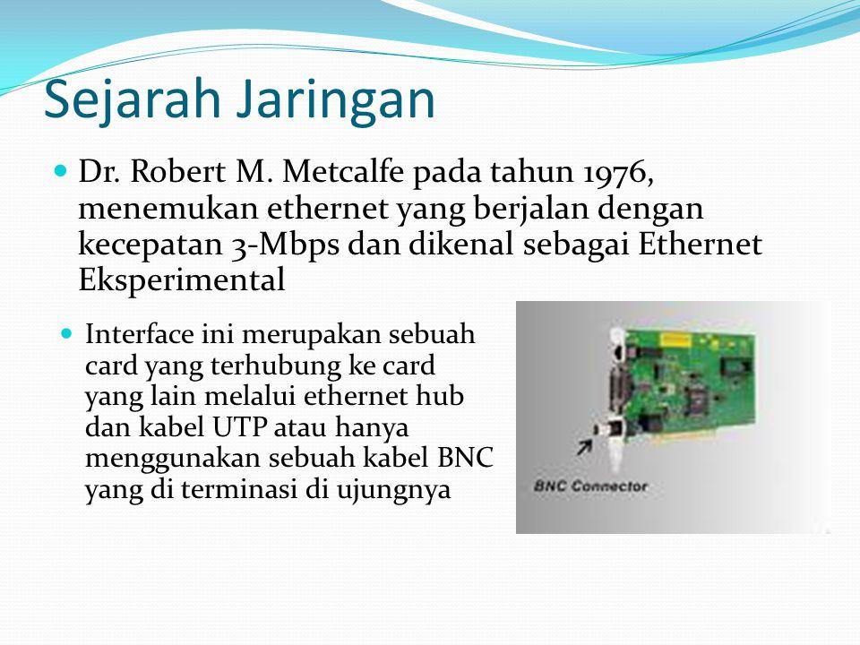 Sejarah Jaringan Dr. Robert M. Metcalfe pada tahun 1976, menemukan ethernet yang berjalan dengan kecepatan 3-Mbps dan dikenal sebagai Ethernet Eksperi
