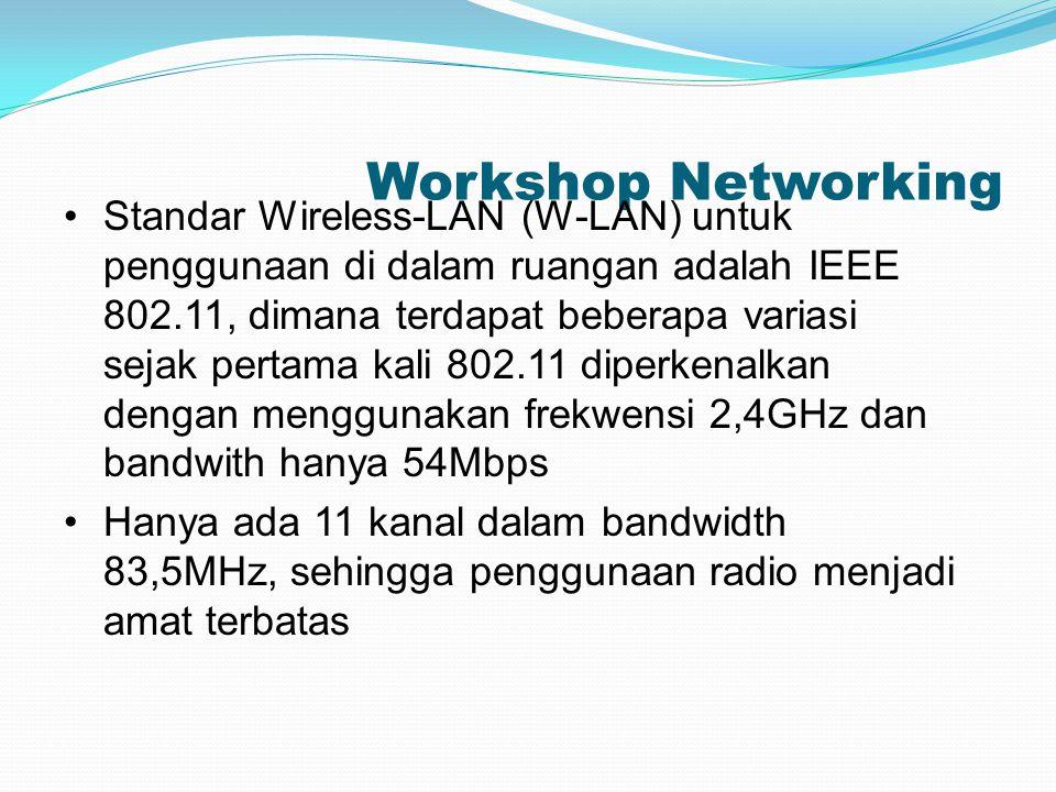 Workshop Networking Standar Wireless-LAN (W-LAN) untuk penggunaan di dalam ruangan adalah IEEE 802.11, dimana terdapat beberapa variasi sejak pertama